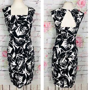 White House black market rose print Sheath dress
